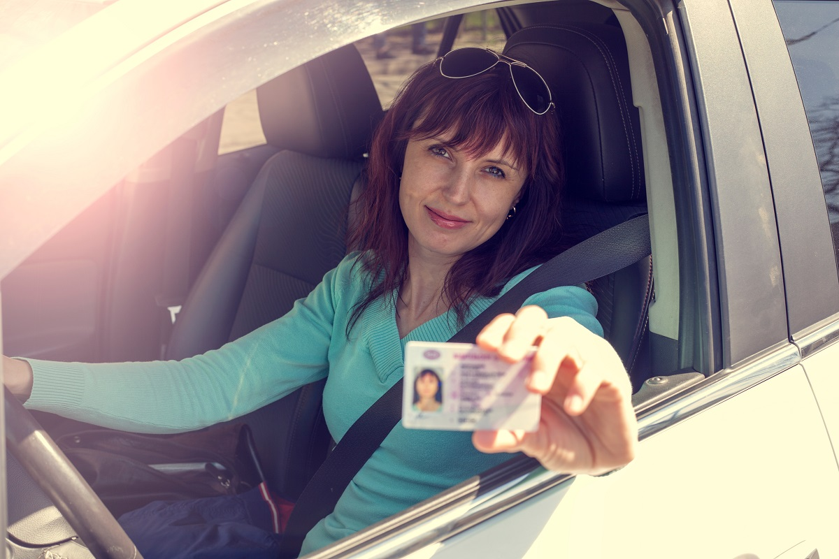 showing driver's license